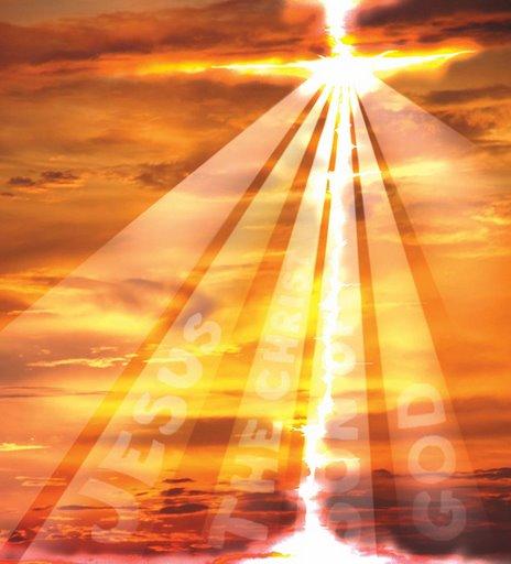 cross of light in golden sky