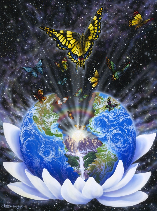 earth in lotus with butterflies