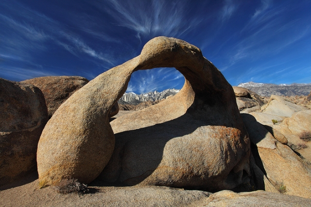 Mobius Arch that is natural window to Mt Whitney, highest mountain peak in contiguous United States