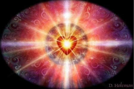 heart radiating light