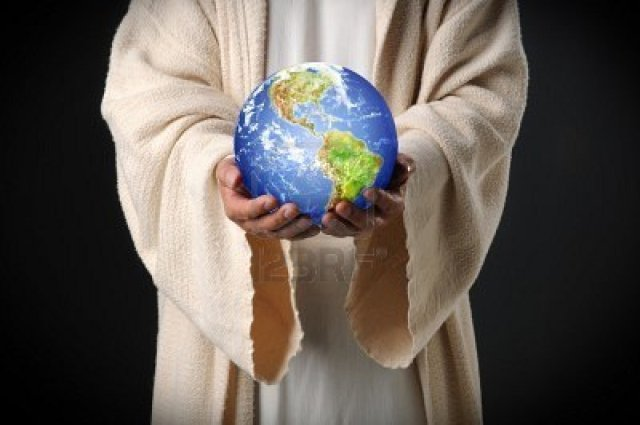 Yeshua holding earth