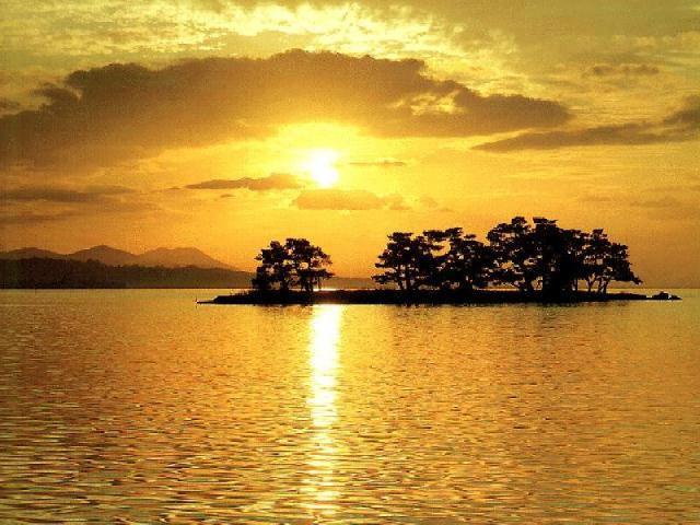 Sunset golden island