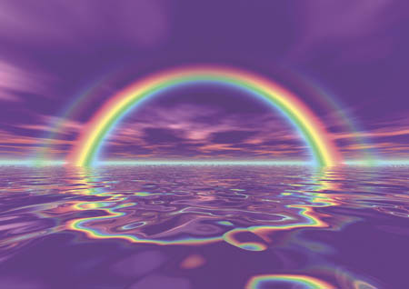 Rainbow purple water:sky