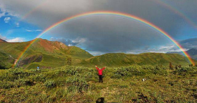 rainbow with person Alaska