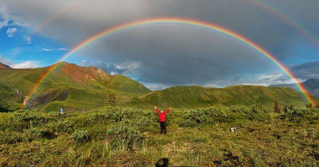 rainbow with person Alaska