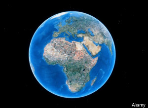 World globe as seen on Google Earth