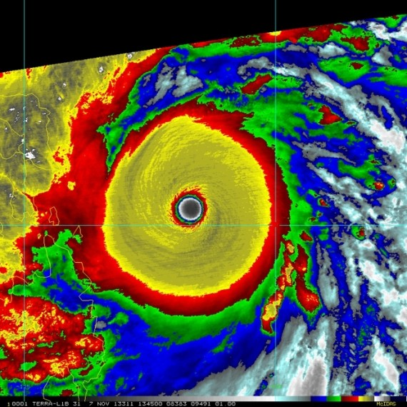 Typhoon with eye of storm