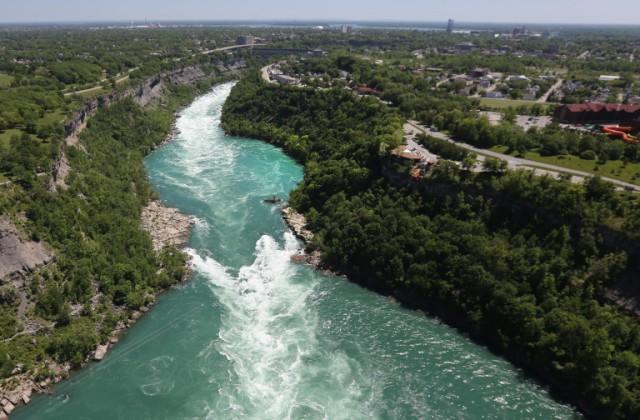 Aerials of U.S.-Canada Border Along The Niagara River