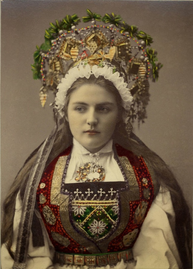 A bride from Hardanger, Norway,1870-1920