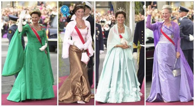 L to R: Queen Sonja of Norway, Princess Märtha Louise of Norway, Queen Silvia of Sweden, Queen Margrethe of Denmark